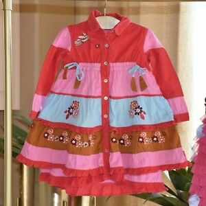 Oilily-Girls-Cowgirl-Winter-Embroidered-Twirl-Dress-Size-4