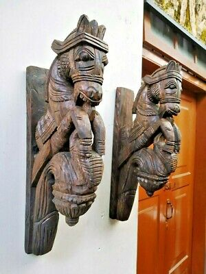 Details about  /Wall Corbel Pair War Horse Wooden Handmade Bracket Vintage Dragon Yali Shelf Art
