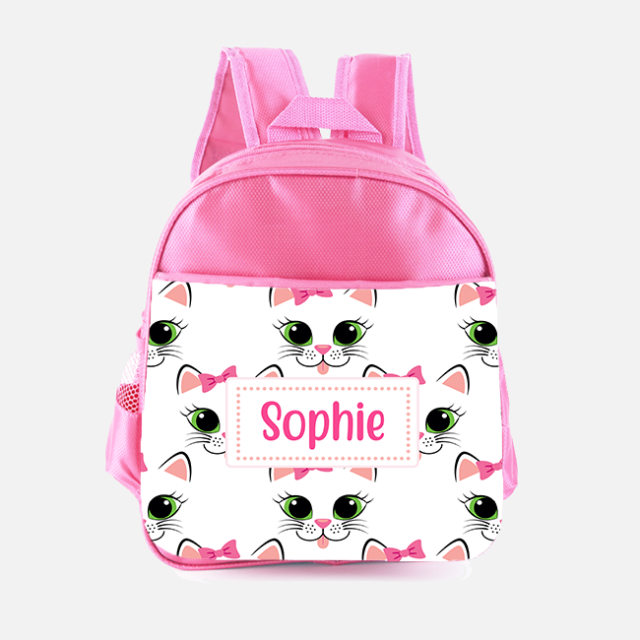Personalised Girls Backpack CUTE KITTEN CAT Kids School Bag Name Pink SH147