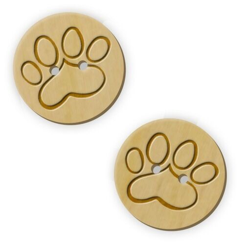 12 x 23mm 'Cat Paw' Round Wooden Buttons