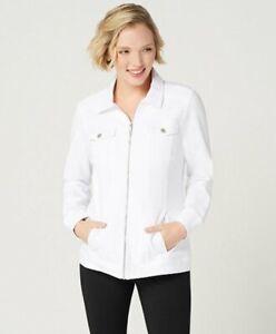 Denim & Co. Comfy Knit Denim Zip-Front Jean Jacket White Small A349249