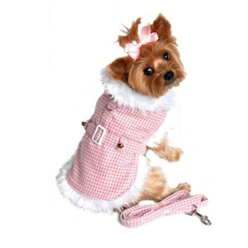 Doggie Design Pink Houndstooth//white Fur Harness Coat W//leash Size MEDIUM
