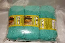 3 Skeins Bernat Cotton-ish Turquoise Terry Cloth Yarn #3 Cotton Acrylic Blend
