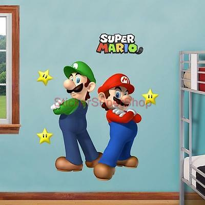SUPER MARIO and LUIGI Bros Decal Removable WALL STICKER Decor Art FREE SHIPPING