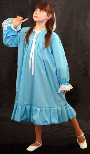 Victorian//Peter Pan//World Book Day BLUE WENDY NIGHTDRESS Fancy Dress All Ages