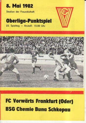 OL 81//82  Vorwärts Frankfurt//O Chemie Buna Schkopau