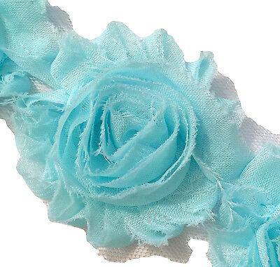 "1 yard teal green 2.5/"" shabby chiffon rose trim fabric flowers DIY baby headband"