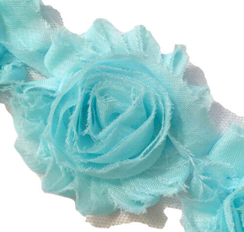 "1//2 yard Aqua blue 2.5/"" shabby chiffon rose trim fabric flowers DIY headbands"