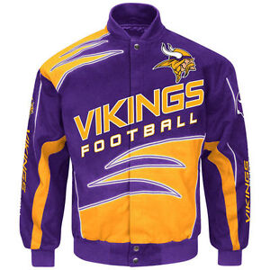 outlet store d2a61 0ce43 Details about Minnesota Vikings Jacket NFL Purple Shred Cotton Twill Jacket  Adult