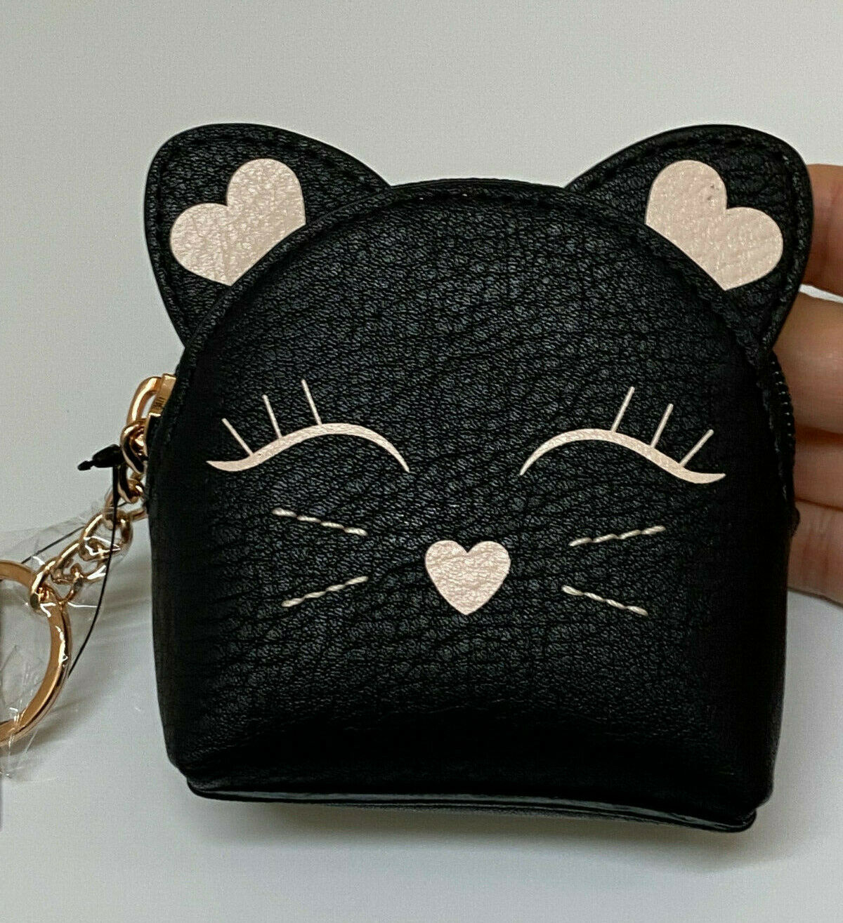 LC Lauren Conrad Kitty Eye Cat Black and Pink Coin Pouch Purse Keychain