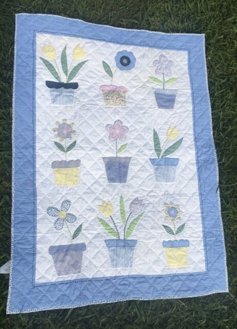 Pottery Barn Kids Crib Flower Pot Cotton Quilt Guc Ebay