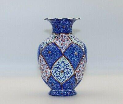 Enamel Minakari blue bowl miniature Mina Persian vase urn Enamelling