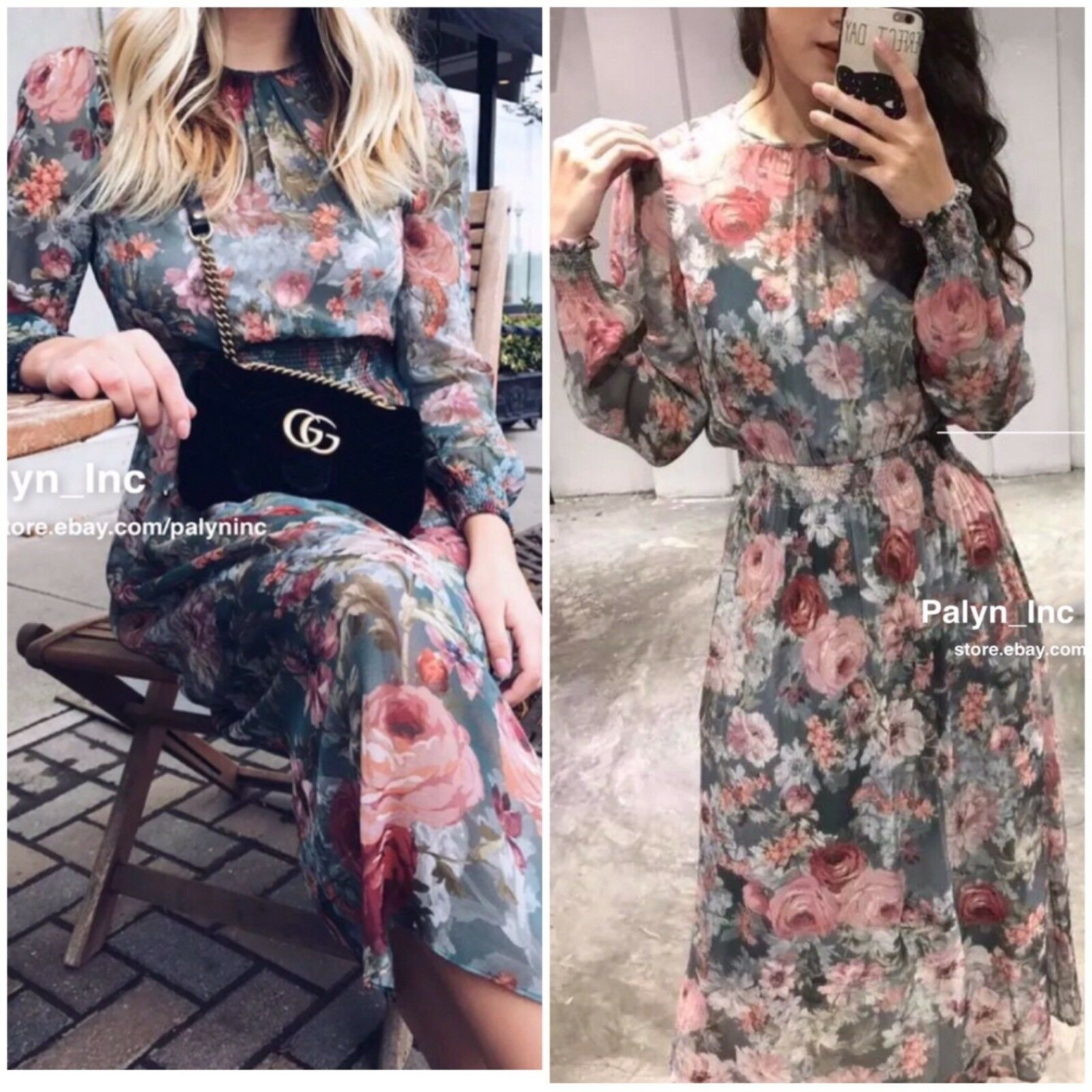 NWT ZARA AW17 FLORAL PRINTED MIDI DRESS WITH ELASTIC WAIST 4437 289_Last M