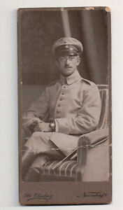 Vintage-CDV-German-Military-Man-Uniform-Odd-Size-Otto-Clauberg-Photo-Naumburg