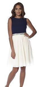 Image is loading Little-Mistress-Embellished-Skater-Dress-Cream-Navy-Prom- e08eab9e2
