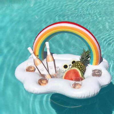 Gonflable Rainbow Boissons Holder Piscine Flotteur Lilo Chaise longue Parti Barge UK STOCK.