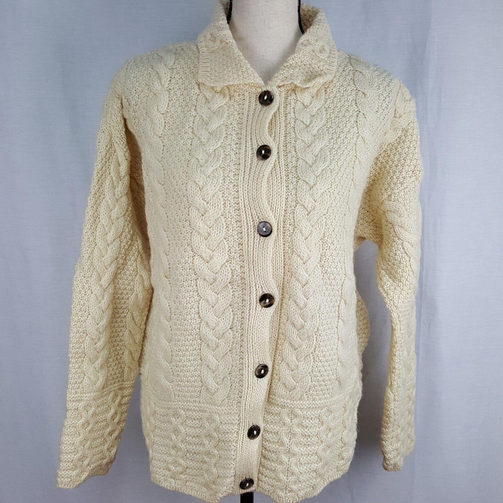 Highland Home Industries Medium Sweater Cream Fisherman Wool Aran