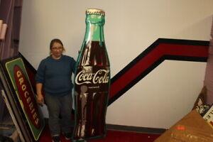 Rare-Large-Vintage-1953-Coca-Cola-Soda-Pop-Gas-Station-72-034-Embossed-Metal-Sign