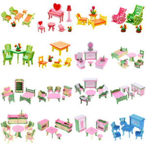 Wooden-Furniture-Room-Set-Dolls-House-Family-Miniature-For-Kid-Children-Xmas-Toy