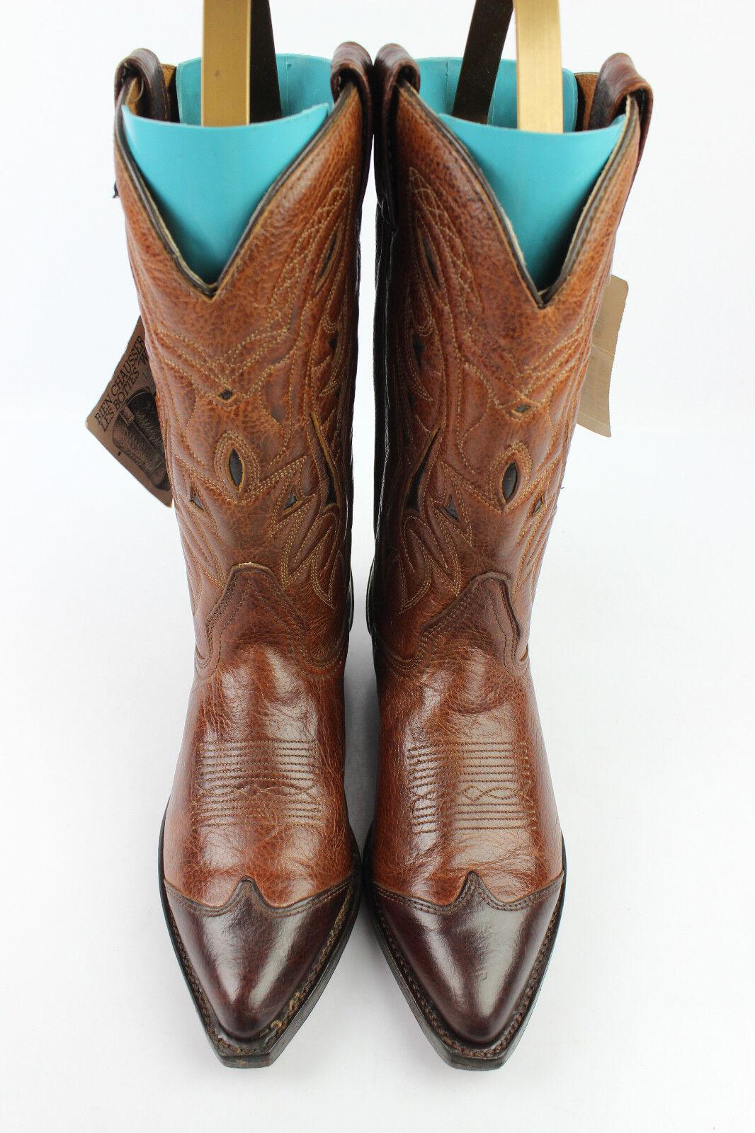 Bottes Cowboy Marron Western DOUBLE H Tout Cuir Marron Cowboy US 7,5 / Fr 37,5 EXCELLENT ETAT 67266a