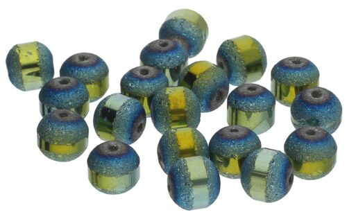 Perles de verre ASSEMBLE 9 mm Petrol AB Beads À faire soi-même 20 pcs #g604-20