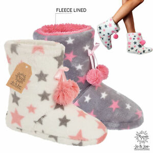 44bf3094b26f New Ladies Girls Womens Soft Grey White Hearts Warm Fleece Slipper ...
