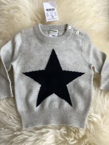 J Crew Crewcuts Baby Cashmere Sweater in Star 6-9 M Style 37768 Gray//Navy