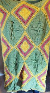Handmade-Afghan-Olive-Green-Mustard-amp-Burgundy-Colors-Throw-Blanket-75-034-x-53-034