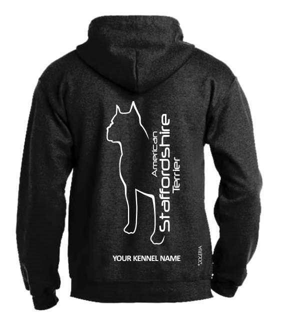 American Staffordshire Terrier Full Zipped Dog Breed Hoodie, Dogeria design