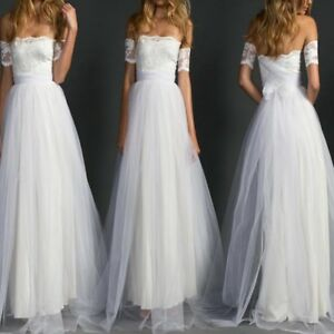 Women White Lace Bridal Ball Gown Tulle Beach Wedding Dress Elegant ... 41598552f