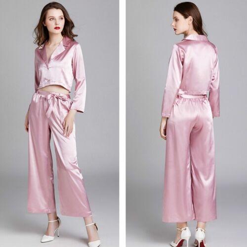 Details about  /Women Satin Crop Tops Pants Trousers Sleepwear Nightwear Pajamas Faux Silk Loose