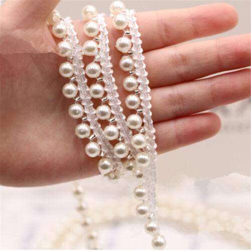 1 5 Yard Pearl Beaded Lace Edge Trim Ribbon Wedding Applique DIY Sewing Craft