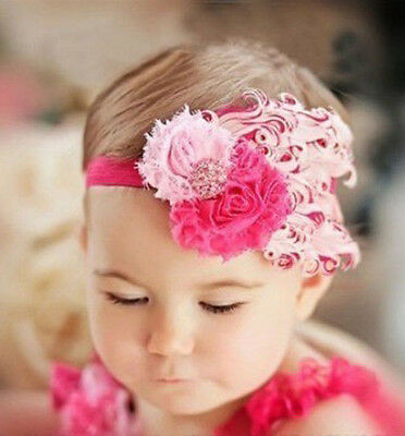 Baby Vintage Headband flower Feather Pad prop hair band Accessorie,rose+pink @