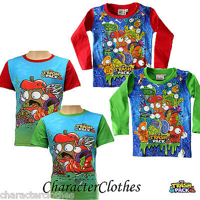 New Boys Character TRASH PACK T-shirt Kids Cartoon Short Long Sleeve Top Age 2-8