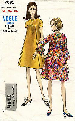 1960's VTG VOGUE Misses' Dress Pattern 7095 Size 14