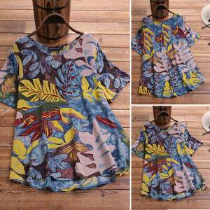 ZANZEA-Women-Summer-Floral-Blouse-Top-Tee-Tropical-Print-Hawaiian-Aloha-Shirt