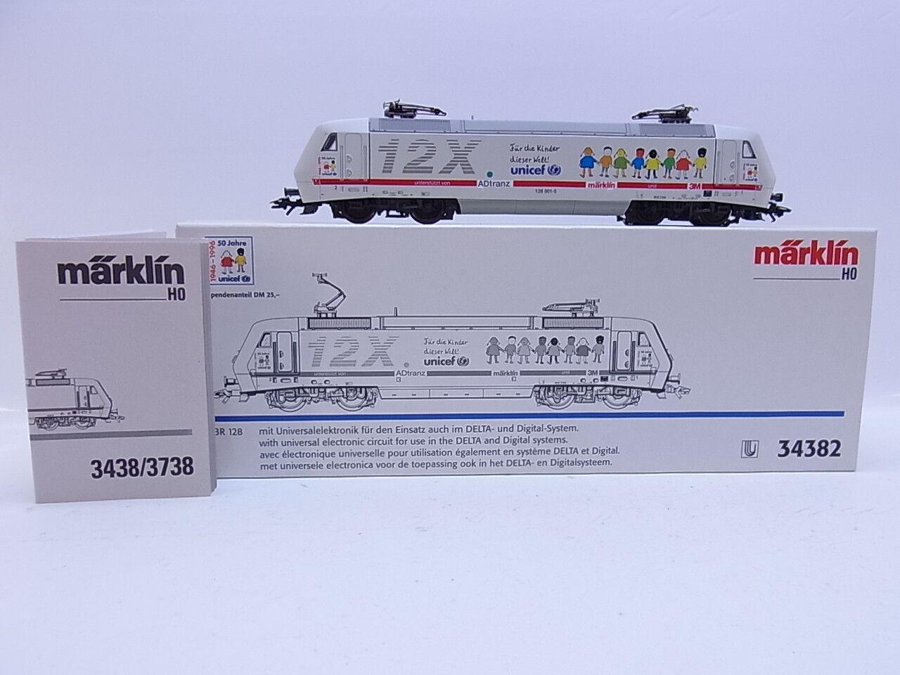 LOT 49980 Neuwertige Märklin H0 34382 34382 34382 E-Lok BR 12X AEG unicef digital in OVP 534e13