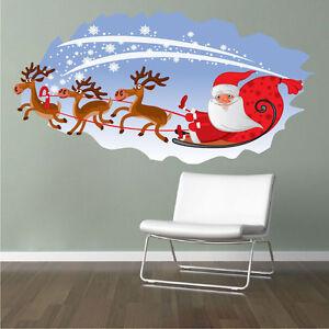 Santa-039-s-Sleigh-Kid-Wall-Decal-Winter-Bedroom-Decor-Christmas-Room-Art-Vinyl-h34