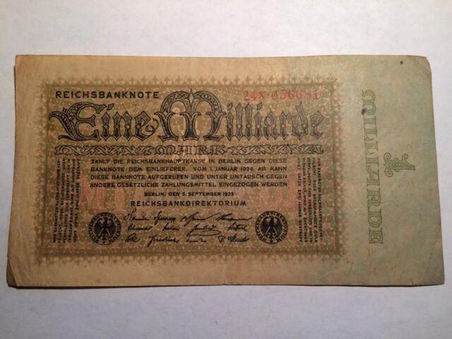 RARE Eine Milliarde Mark One Billion 1923 Germany Excellent Condition Vintage
