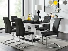 GIOVANI Black White Gloss Glass Dining Table Set and 6 Leather Chairs Seater