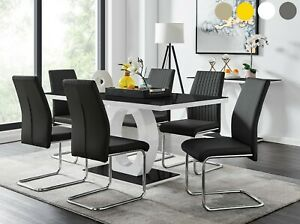 Giovani Black White Gloss Glass Dining Table Set 6 Faux Leather Chairs Seater Ebay