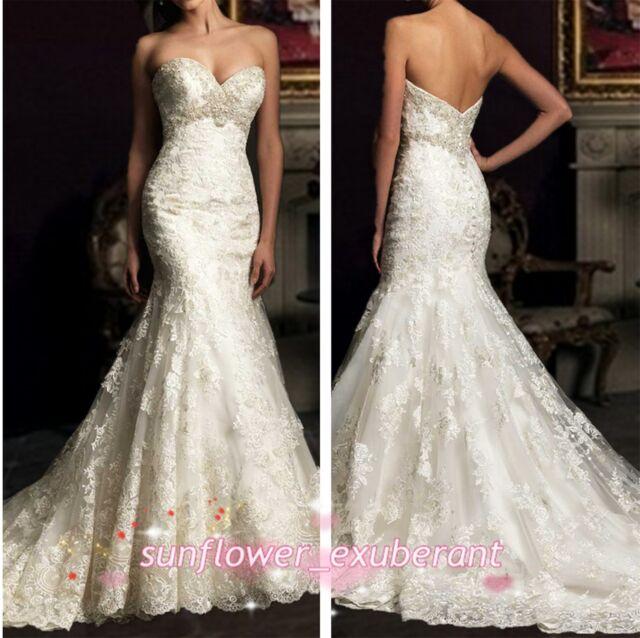 Custom Mermaid Wedding Dress Bridal Formal Gown Strapless Ball Lace Sweetheart