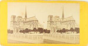 Francia-Parigi-Cattedrale-Notre-Dame-Foto-Stereo-Vintage-Albumina-Ca-1870