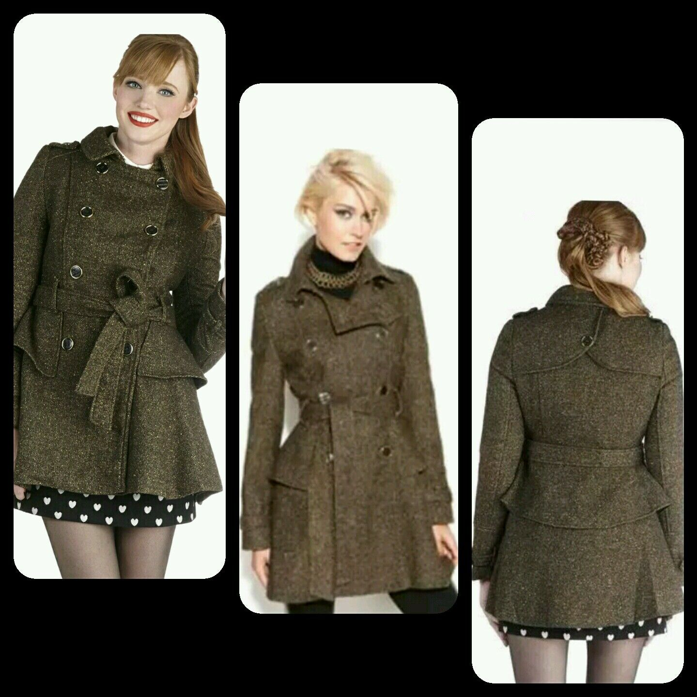 295 STEVE MADDEN grön Wool Blend Double -Breast Belt Peplum Tweed Coat L M3020