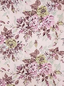 4-Panels-Vtg-60s-Dusty-Baby-Pink-Shabby-Cabbage-Rose-Floral-Print-Curtains-31x50