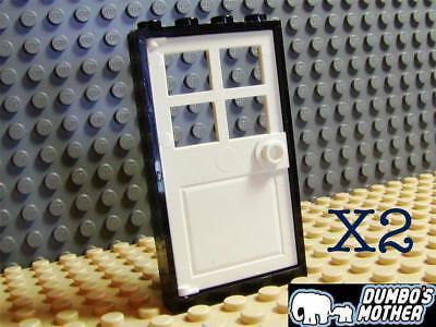 House City MOC Town Lego x 2 Black /& Green Doors 1x4x6 60596 60623