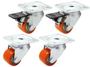 Polyurethan Rolle Rückenloch Lenk Brems 35 mm Kompakt EXTREM Schwerlast 400 Kg