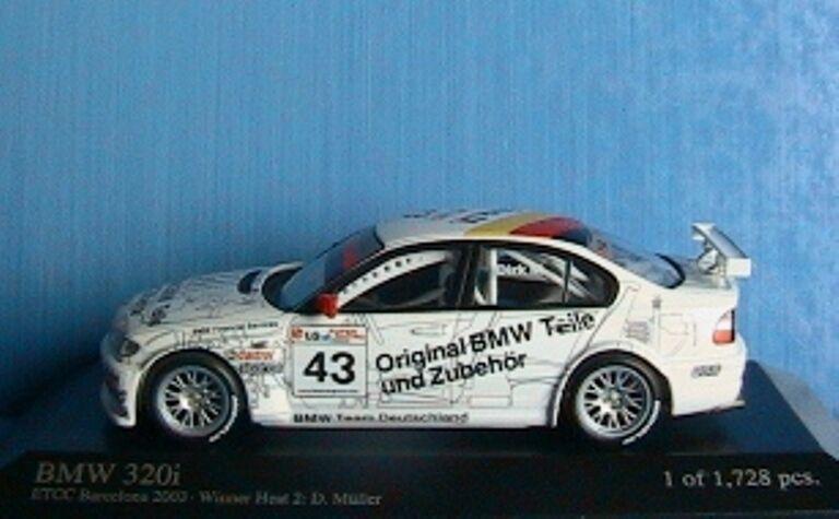 BMW 320i  43 ETCC ETCC ETCC BARCELONA 2003 WINNER HEAT 2 MULLER 1 43 MINICHAMPS 400032443 697929