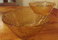Vintage Anchor Hocking Soreno Amber Glass Chip and Dip Bowl Set Party Bowls