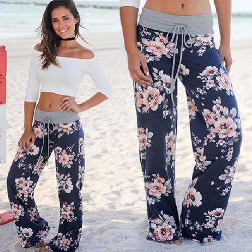 Women/'s Baggy Floral Yoga Palazzo Trousers Casual Wide Leg Long Pants Plus Size